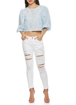 Eyelet Lace Up Back Crop Top - 1401069391415