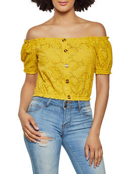 Button Off the Shoulder Eyelet Top - 1401069391470