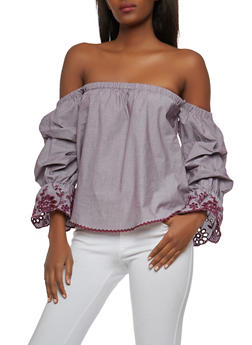 Embroidered Sleeve Off the Shoulder Top - 1401069391651