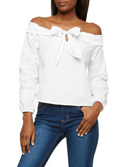 Smock Trim Tie Neck Off the Shoulder Top - 1401069391688