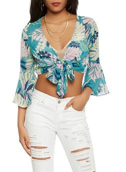 Floral Tie Front Crop Top - 1401069391769