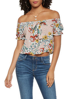 Printed Off the Shoulder Top - 1401069391795