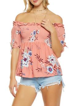 Smocked Off the Shoulder Floral Top - 1401069391854