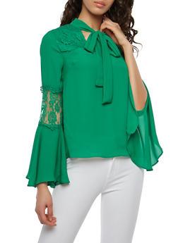 Lace Detail Tie Neck Blouse - 1401069391859