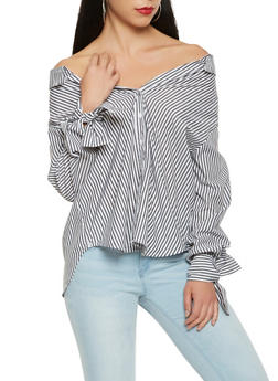 Striped Button Front Off the Shoulder Top - 1401069391896