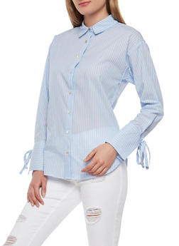 Striped Button Front Shirt - 1401069391904