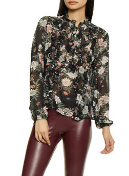 Floral Ruffled Blouse - 1401069391909