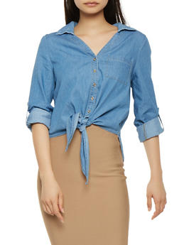 Chambray Tie Front Shirt - 1401069391915