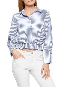Striped Smocked Waist Top - 1401069391918