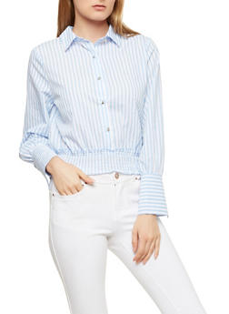 Striped Smocked Waist Top - 1401069391918