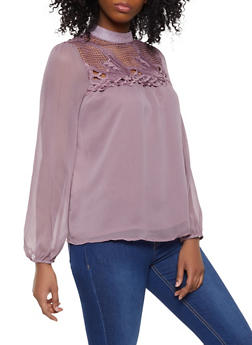 Crochet Yoke Button Back Top - 1401069391958