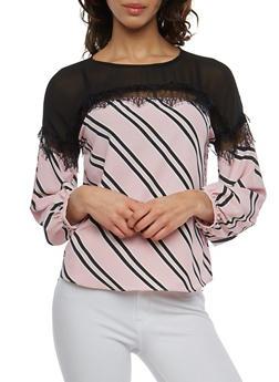 Striped Lace Trim Top - 1401069391965