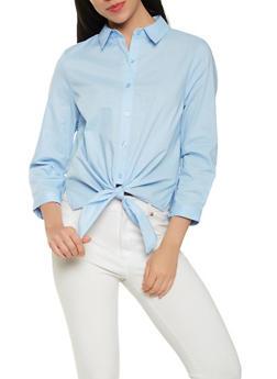Tie Front Shirt - 1401069391986