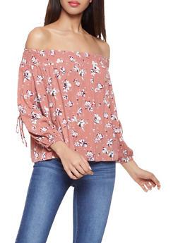 Floral Off the Shoulder Split Sleeve Top - 1401069392137