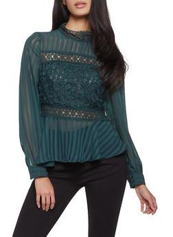 Crochet Insert Peplum Top - 1401069392503