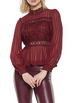 Burgundy Long Sleeve Tops