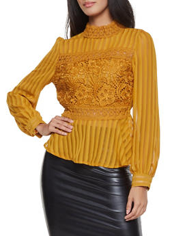 Crochet Insert Peplum Top - 1401069392503