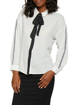 Tie Neck Button Front Shirt - 1401069392518