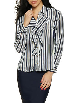 Striped Ruffled Button Front Shirt - 1401069392519