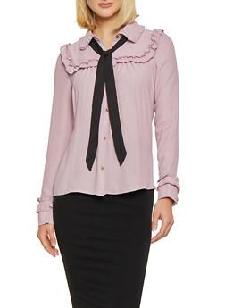 Ruffled Tie Neck Metallic Button Shirt - 1401069392527