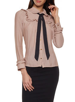 Ruffled Tie Neck Metallic Button Shirt - 1401069392527