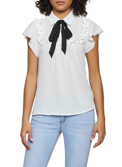 Tie Neck Half Button Ruffle Blouse - 1401069392760