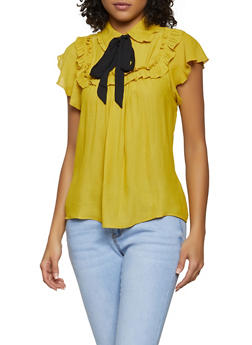 Tie Neck Half Button Ruffle Blouse - 1401069392760