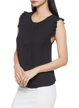 Sleeveless Pleated Blouse - 1401069392988