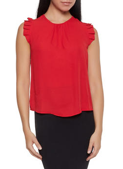 Sleeveless Pleated Blouse - Red - Size S - 1401069392988