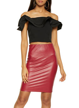 Wired Edge Off the Shoulder Crop Top - 1401069393086
