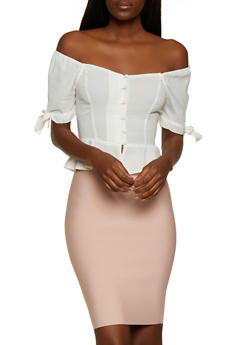 Tie Sleeve Off the Shoulder Peplum Shirt - 1401069393257
