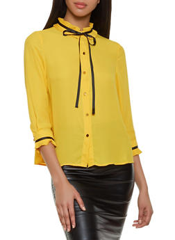 Pleated Trim Button Front Blouse - 1401069393265