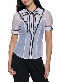 Ruffled Organza Contrast Trim Shirt - 1401069393277