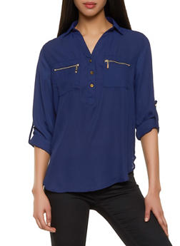 Half Button Tab Sleeve Blouse - 1401069393278