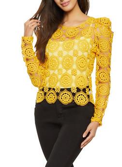 Crochet Puff Shoulder Top - 1401069394271
