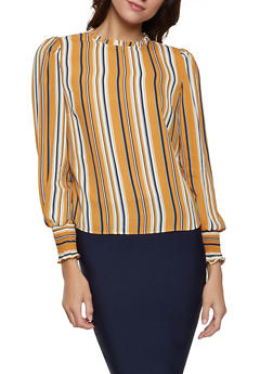 Striped Smocked Cuff Blouse - 1401069394282