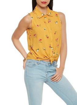 Sleeveless Floral Polka Dot Shirt - 1401069394382