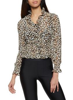 Ruffle Trim Cheetah Blouse - 1401069394671