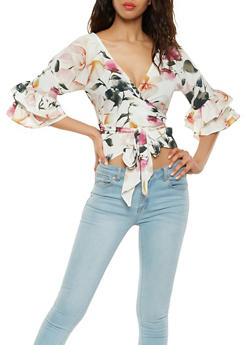 Floral Tiered Sleeve Wrap Top - 1401069395177