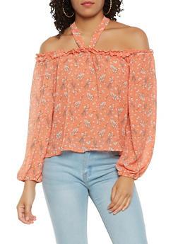 Floral Off the Shoulder Halter Top - 1401069395182