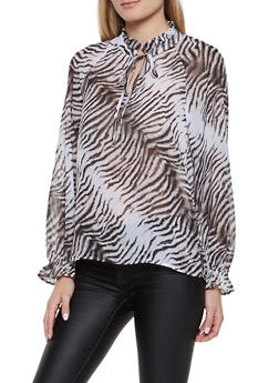 Tiger Stripe Tie Neck Blouse - 1401069395237