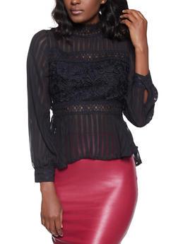 Shadow Stripe Crochet Detail Top - 1401069395250