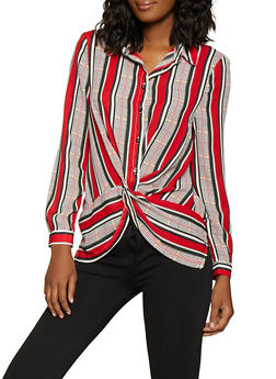 Striped Twist Front Shirt - 1401069395347