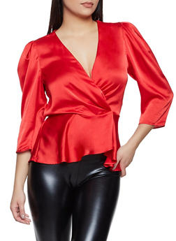 Satin Wrap Top - 1401069395419