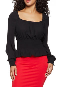 Off the Shoulder Smocked Waist Top - 1401069395935