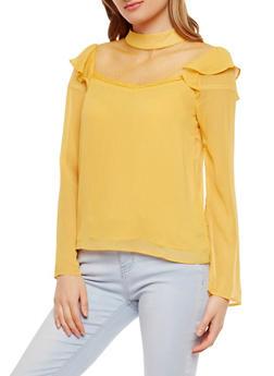 Sheer Yoke Ruffled Long Sleeve Blouse - 1401069396005