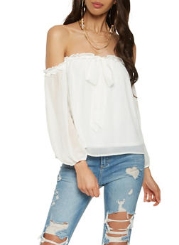 Off the Shoulder Tie Neck Top - 1401069396497
