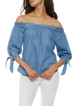 Off the Shoulder Chambray Top - 1401069397689