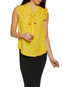 Cherry Print Tie Neck Blouse - 1401069397996