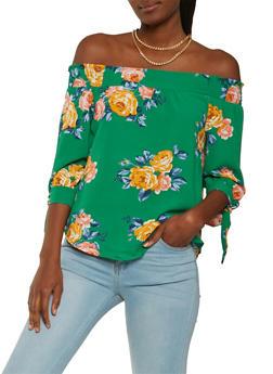 Striped Floral Off the Shoulder Top - 1401069398689